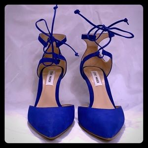 Steve Madden Blue Suede Pumps w/ Ankle Tie